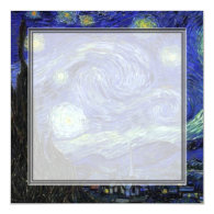 blank invitation, van Gogh starry night Personalized Invites