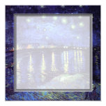 "blank invitation, van Gogh starry night 5.25"" Square Invitation Card"