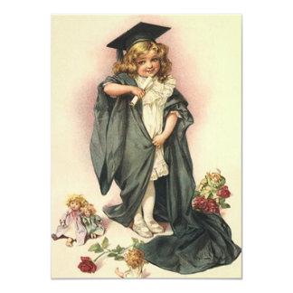 Blank Invitation Vintage Graduation Dolls Roses