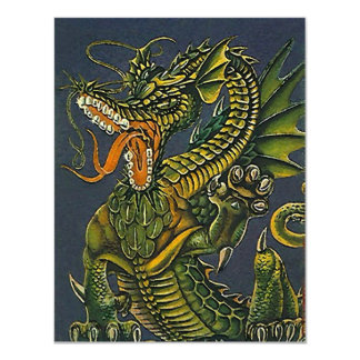 Blank Invitations Colorful Growling Party Dragon