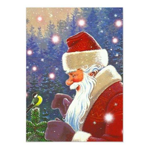 Blank Invitations ~ Sweet Woodland Santa Chickadee