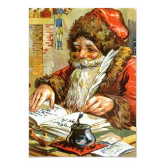 Blank Invitations Vintage Santa Going Over List