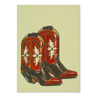 Blank Invitations Western Cowboy Boots Hoedown