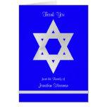 Blank Jewish Sympathy Thank You Note Card - Blue