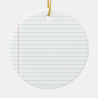 Blank Lined Paper Ceramic Ornament
