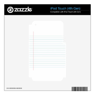 Blank Lined Paper Decals For iPod Touch 4G
