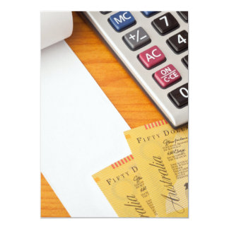 Blank list with Australian dollars and calculator Card