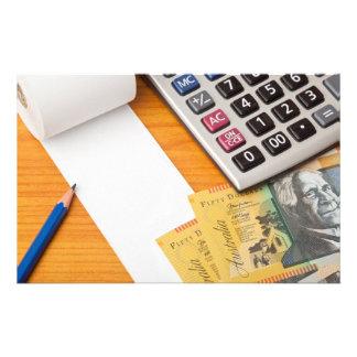 Blank list with Australian dollars and calculator Custom Stationery