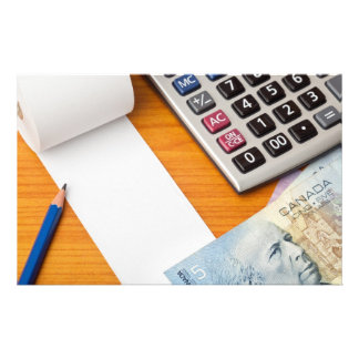 Blank list with Canadian dollars and calculator Stationery Design