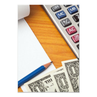 Blank list with dollar bills and calculator card