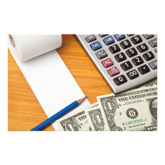 Blank list with dollar bills and calculator personalized stationery