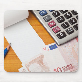 Blank list with Euro and calculator Mouse Pad