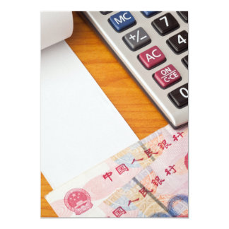 Blank list with Renminbi and calculator Card