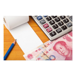 Blank list with Renminbi and calculator Personalized Stationery