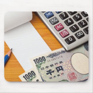 Blank list with Yen and calculator Mouse Pad