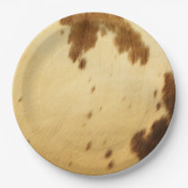 Blank Long Horn Cowhide Animal Fur Print Party Paper Plate
