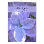 Blank Memorial Photo Thank You Note Card -- Lilacs