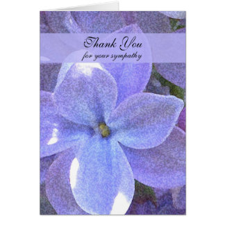 Blank Memorial Photo Thank You Note Card -- Lilacs