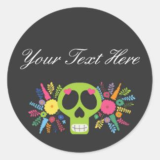 Blank Mexican Sugar Skull Custom Packaging Classic Round Sticker