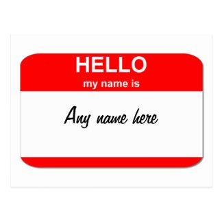 Blank name tag template postcard