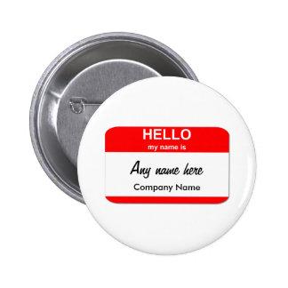 Blank Name Tag Templates Pinback Button