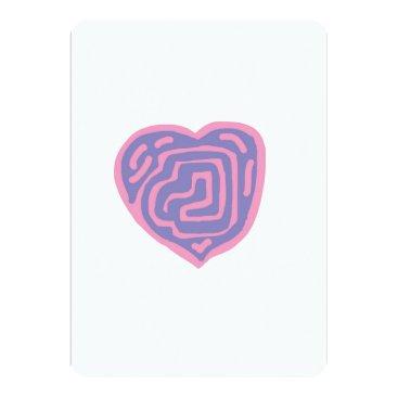 Art Themed Blank Note Card - Purple & Pink Heart