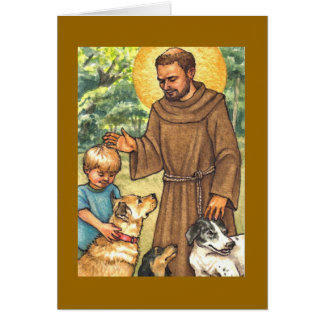 blank note card St Francis & dogs