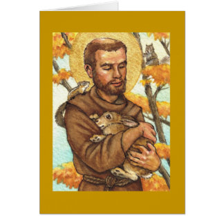 blank note card St Francis & rabbit