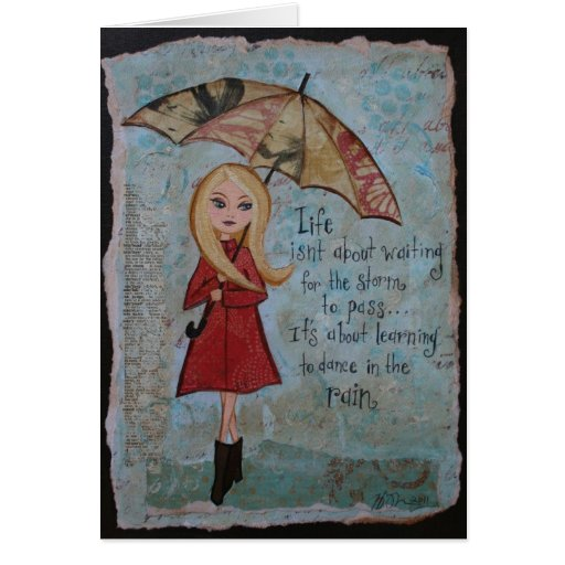 Blank Notecard Inspirational Quote Rainy Day Art