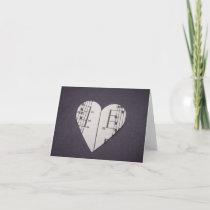 Blank Notecard Vintage Sheet Music Heart
