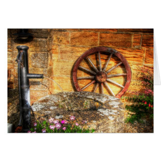 Blank notelet - Rustic Pump Well and Cartwheel Greeting Cards