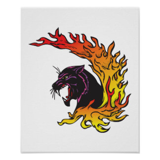 blank panther and flames poster