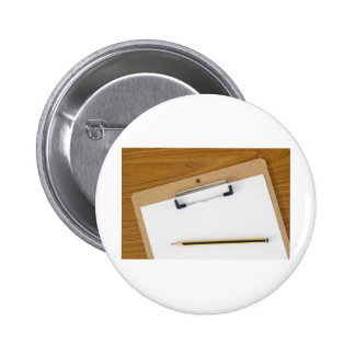 Blank paper on a clipboard pinback buttons