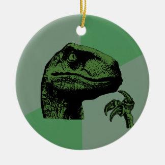 Blank Philosoraptor Double-Sided Ceramic Round Christmas Ornament