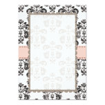 Blank Pink and Black Damask Card