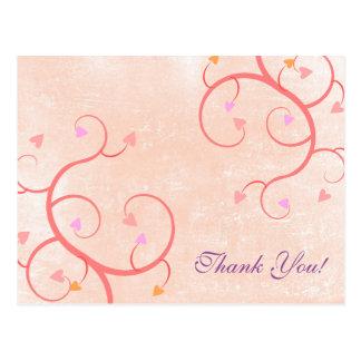 Blank - Pink Heart Vines Thank You Postcard