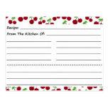 Blank Recipe Cards: Cherries Postcards