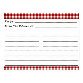 Blank Recipe Cards: Gingham Dreams Postcard