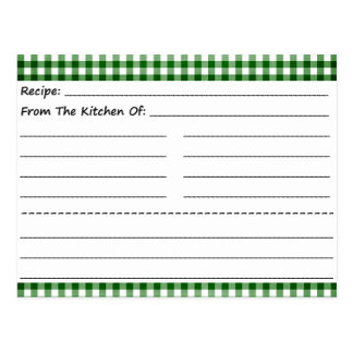 Blank Recipe Cards: Gingham Dreams Post Cards