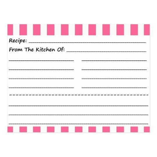 Blank Recipe Cards: Pink & White Stripes Postcard