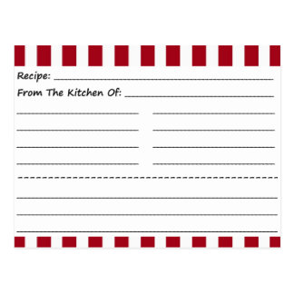 Blank Recipe Cards: Red & White Stripes Postcard