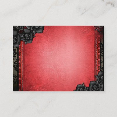 BLANK Red & Black Gothic Seating Cards 3.5x2.5