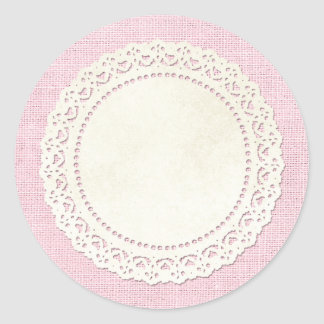 Blank Rustic Burlap Doily - Customizable Packaging Classic Round Sticker