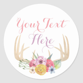 Blank Rustic Floral Antlers Chic Custom Packaging Classic Round Sticker