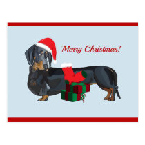 Blank Santa Dachshund Christmas Postcard