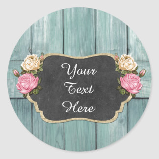Blank Shabby Vintage Rose Rustic Country Packaging Classic Round Sticker