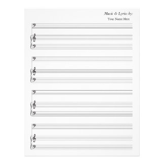 Blank Sheet Music 4 Stave Bass and Piano Customized Letterhead