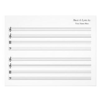 Blank Sheet Music 4 Stave String Quartet Letterhead