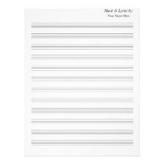 Blank Sheet Music Blank 12 Staves no clefs Letterhead