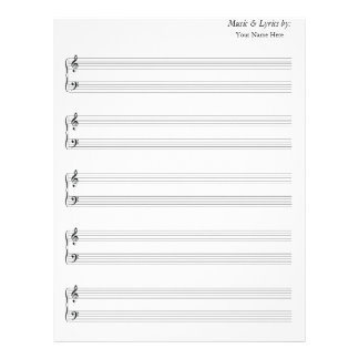 Blank Sheet Music Grand Staff Bass and Treble Letterhead